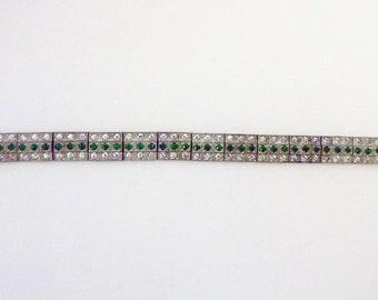 Art Deco flapper pot metal paste pave rhinestone line bracelet faux diamond faux emerald