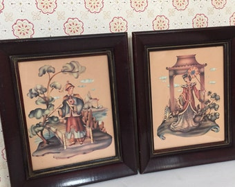 Stunning Pair of Vintage Asian Oriental Prints - Japanese Woman with Parasol - Tattoo Art