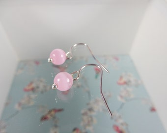 Baby Pink Earrings, Pink Beads, Wedding Earrings, Simple Jewelry, Gift for Her, Bridal Earrings