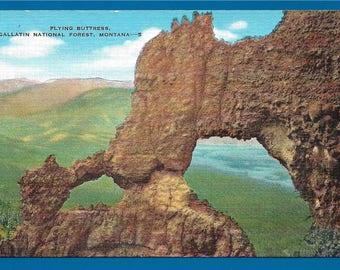 Linen Postcard - Flying Buttress Formation in the Gallatin National Forest in Montana  (2629)