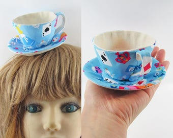 MADE-TO-ORDER ( 1 - 2 Weeks) Textile Teacup Fascinator (Hair Clip for Children & Adults) -Blue Alice Print *Alice's Mad Hatter Tea Party!*