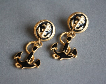80s Sailor Earrings | Vintage Anchor Earrings | 1980s Novelty Earrings | Gold Black Sail Motif Earrings | NWOT