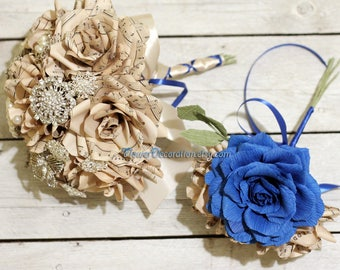 music wedding bouquet - 7 blossom roses + 11 brooches, choose your colors - choose your music wedding set