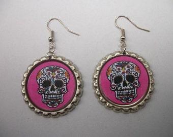 BOTTLE CAP EARRINGS - Sugar Skull / Pink