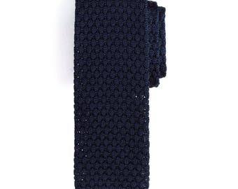 Navy Silk Knit Tie, Men's Necktie, Knitted Necktie, Casual Necktie, Dark Blue Necktie, Groomsmen Necktie, Wedding Necktie