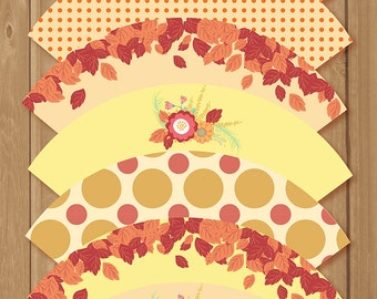 Fall cupcake wrappers - 7 designs - Thanksgiving - Leaves - Fall flowers, warm tones. Instant Download