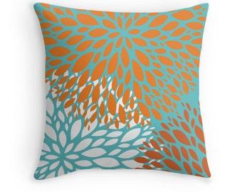 Orange Turquoise Flower Decorative Throw Pillow Cover