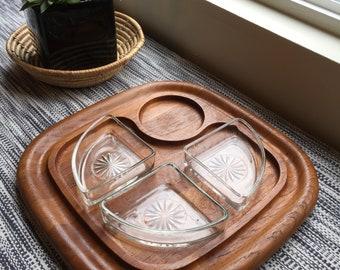 Vintage Dansk Teak Serving Platter with Dishes