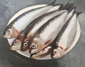 Fish, original oil painting 8x10 canvas art, fish art, sardine art,food artkitchen art,seafood art