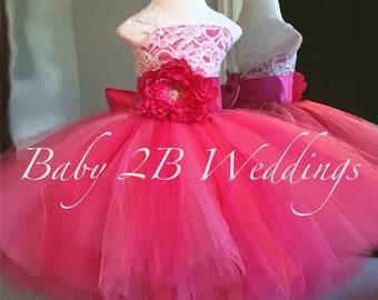 Fuchsia Rose Dress Pink Dress Lace Dress Hot Pink dress Wedding Dress Birthday Dress Toddler Tutu Dress Hot Pink Baby Dress Girls Dress