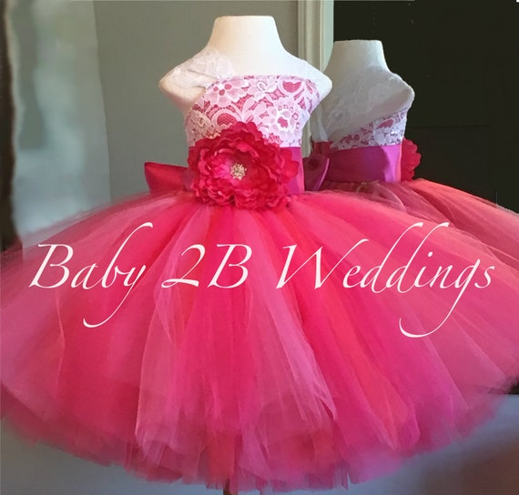 Fuchsia Rose Dress Pink Dress Lace Dress Hot Pink dress Wedding Dress Birthday Dress Toddler Tutu Dress Hot Pink Baby Dress Girls Dress