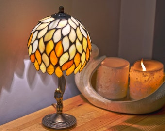 Small Lamp Shade, Stained Glass Lamp, Small Lamp, Bedside Lamp, Bedside Decor, Orange Lamp Shade, Nightstand Decor, Bedroom Lamps, Desk Lamp
