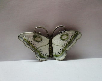 Vintage Old  Sterling Silver 925  Enamel Butterfly Brooch Norway Beautiful Gift