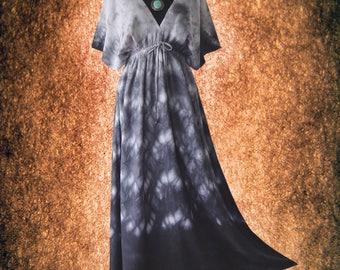 Japanese Shibori Fish Scale Artwork Casual Kimono maxi Dress