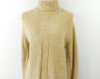 30% SPRING SALE Vintage 1980s 80s Tan Cable Knit Thick Roll Down Ribbed Boxy Fall Minimal Turtleneck Long Sleeve Sweater Sz Medium