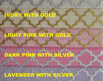 FOIL QUATREFOIL Print ELASTIC From 1 - 10 yards - List color choices in notes to seller on checkout, choose any colors