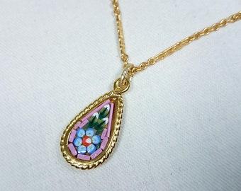 Vintage Pink Micro Mosaic Pendant Drop Necklace, Rhodochrosite, Italy, Grand Tour, Souvenir Jewelry