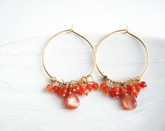 Orange Earrings, Carnelian Earrings, Sunstone Earrings