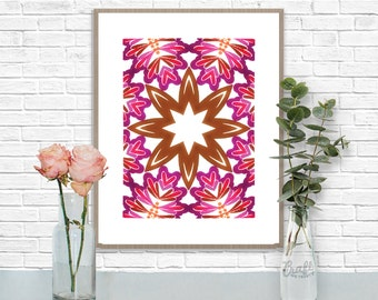 Bali 1 Digital Print • Kaleidoscope Mandala Bright Island Pattern • Instant Download • Home Decor Wall Art • Printable Poster Artwork