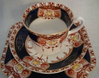 Vintage English bone china tea cup, saucer and cake plate (Royalvale china)