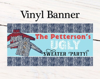 Ugly Sweater Party Photo Banner ~ Christmas Ugly Sweater Personalized Party Banners Holiday Party Banner, Printed Vinyl Banner