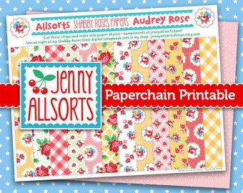 Audrey Rose Shabby Roses Printable Paper Chain, Party Supplies, Decoration