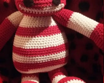 plush or amigurumi hippo, red and white