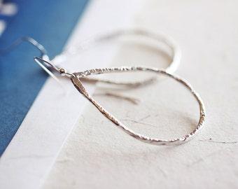 Open Teardrop  Silver Earrings - large open water drop sterling silver frame, minimal abstract and modern