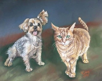 Commissioned pet portrait, Tigger and Pooh, order your own portrait today