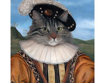 Cute Cat Portrait Canvas Print Cat Portrait Cat Lady Gift Ideas
