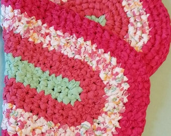 "Rag Rug Rustic Decor Farmhouse Decor 39"" Strawberry Sherbet Cottage Chic Crochet Beach handmade rug cotton Cozy Favorite Soft Accent"