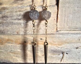 Smoky Quartz Spike Earrings