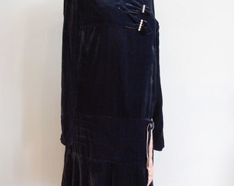 Vintage 1920s Blue Silk Velvet Flapper Dress - Size XS