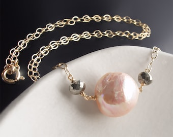 Custom Made to Order - 14k Kasumi Pearl Necklace with Pyrite Accents