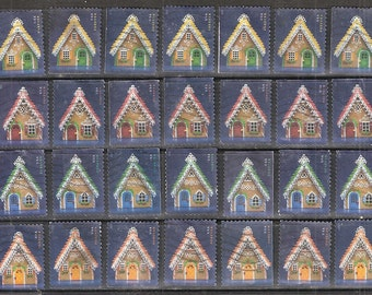 28 GINGERBREAD HOUSES Used & Cancelled U.S. (46c) Forever Christmas Stamps (7 sets of 4 Houses)