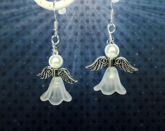 Christmas Angel earrings - Christmas earrings - Guardian Angels - Stocking filler gift - White angel earrings - Stocking stuffer - UK