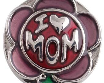 1 PC - 18MM Love Mom Flower Enamel Candy Snap Charm Silver Tone KC5246 Cc3398