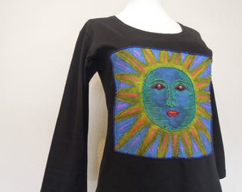 Vtg 90's Beaded Sun Embellished Handmade T Shirt Black Cotton T-Shirt Top  Size Small