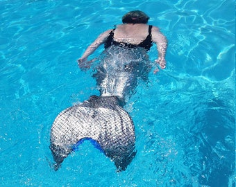 ADULT mermaid tail for swimming swimmable fish fin lycra spandex. Fits FINIS monofin