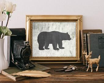 Bear Print - 8x10 Printable Art, Rustic Decor, Grizzly Bear Print, Wall Art, Rustic Home Decor, Hunting Decor