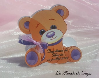 Dragees box theme Teddy bear / bear purple / violet for baptism