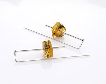 Geometric sterling silver amber earrings | minimalist earrings | gift for women | girlfriend gift for her | amber jewelry |