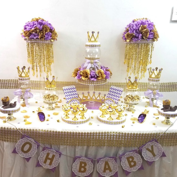 Lavender and Gold Baby Shower Candy Buffet Centerpiece With