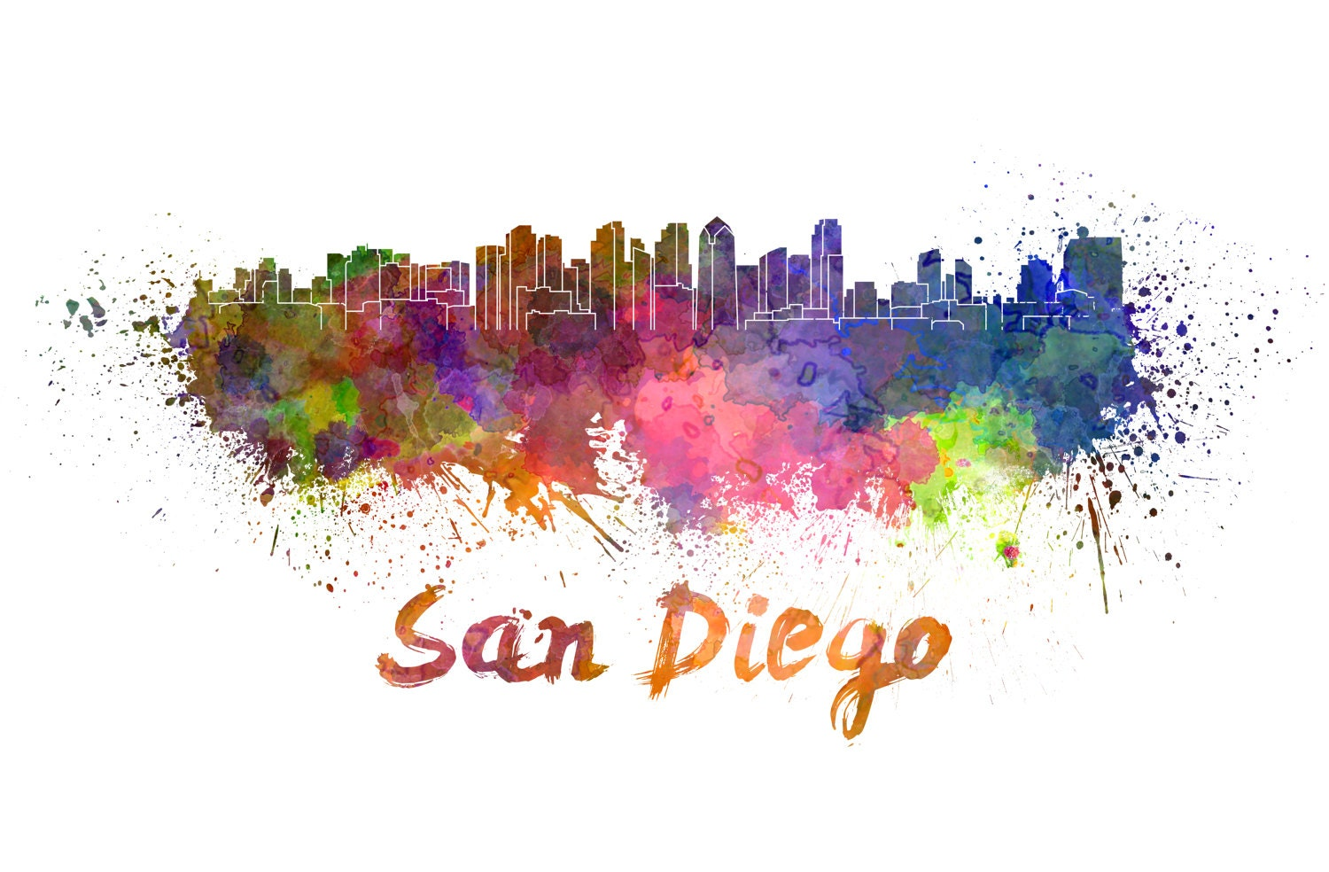 san diego skyline watercolor canvas san diego canvas sab