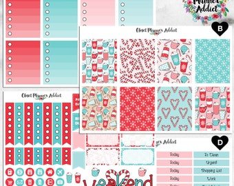 Vertical Weekly Kit Planner Stickers - Christmas Peppermint | Boxes, MDN Stickers, Icons | For Use With Erin Condren Life Planner™ (EC-030)