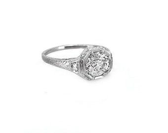 1.03ct. Diamond Art Deco Antique Engagement Ring Platinum - J36862