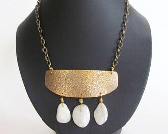 Moonstone Necklace, Handmade Metal Jewelry, Gold Brass Statement Necklace, Moonstone Jewelry, Cleopatra Necklace, Boho Festival Jewelry