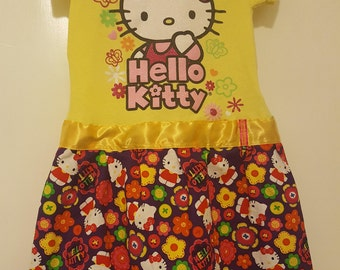 "OOAK Upcycled Hello Kitty ""Flower Power"" Tee Shirt Dress"