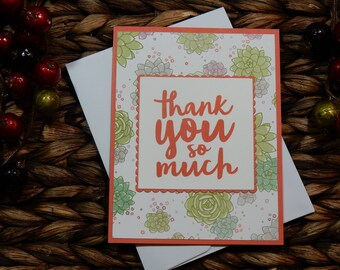 Thank You Greeting Card / Handmade / Blank Inside Greeting Card / Stamped Greeting Card / Just Because Greeting Cards