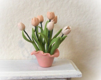 Lovely Tulip Arrangement Pink and Cream Artisan Hand Sculpted Lacy Vase 1:12 Scale Miniature Dollhouse Decor